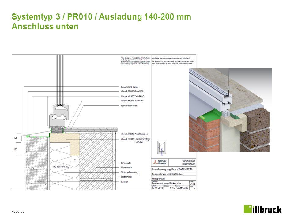 Page 26 Systemtyp 3 / PR010 / Ausladung 140-200 mm Anschluss unten