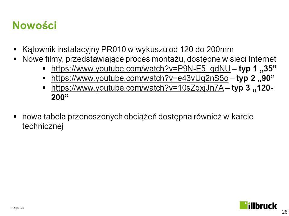 Page 28 Nowości 28  Kątownik instalacyjny PR010 w wykuszu od 120 do 200mm  Nowe filmy, przedstawiające proces montażu, dostępne w sieci Internet  h