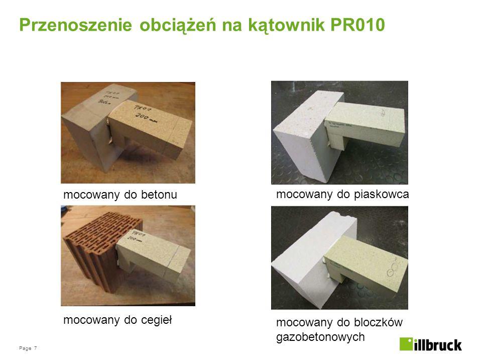 Page 7 Przenoszenie obciążeń na kątownik PR010 mocowany do betonu mocowany do cegieł mocowany do piaskowca mocowany do bloczków gazobetonowych