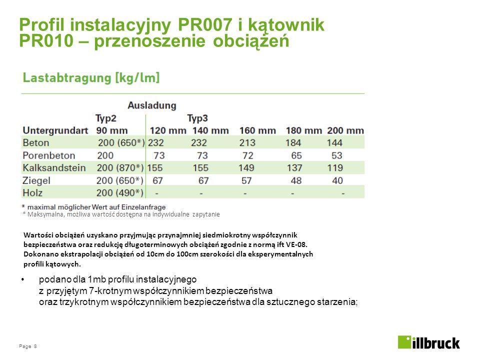 Page 8 Profil instalacyjny PR007 i kątownik PR010 – przenoszenie obciążeń podano dla 1mb profilu instalacyjnego z przyjętym 7-krotnym współczynnikiem bezpieczeństwa oraz trzykrotnym współczynnikiem bezpieczeństwa dla sztucznego starzenia; Wartości obciążeń uzyskano przyjmując przynajmniej siedmiokrotny współczynnik bezpieczeństwa oraz redukcję długoterminowych obciążeń zgodnie z normą ift VE-08.