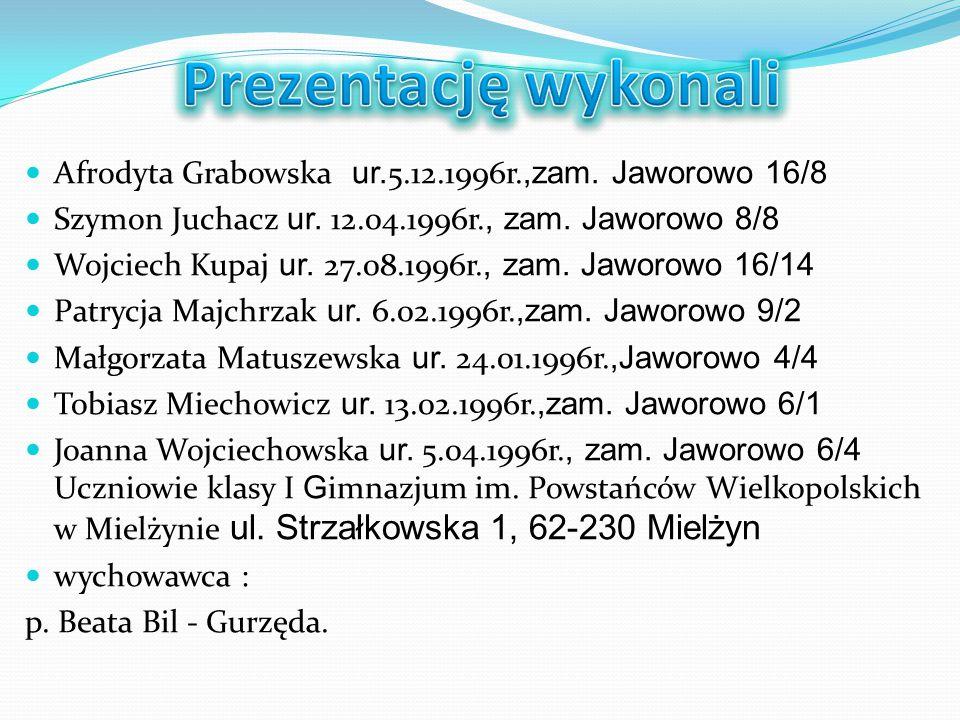 Afrodyta Grabowska ur. 5.12.1996r.,zam. Jaworowo 16/8 Szymon Juchacz ur. 12.04.1996r., zam. Jaworowo 8/8 Wojciech Kupaj ur. 27.08.1996r., zam. Jaworow