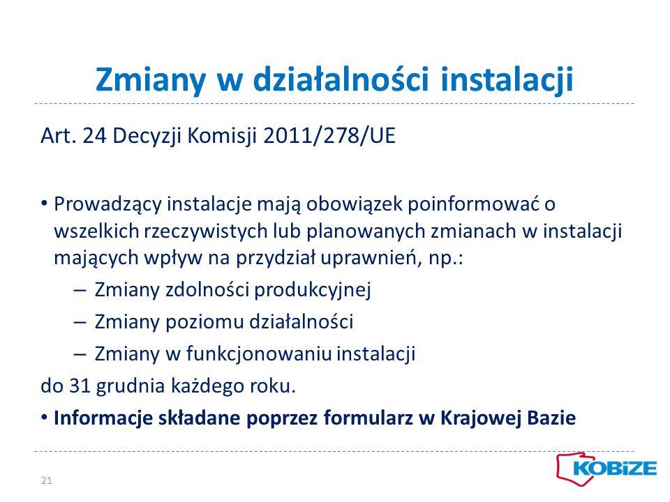 Zmiany w działalności instalacji Art. 24 Decyzji Komisji 2011/278/UE Prowadzący instalacje mają obowiązek poinformować o wszelkich rzeczywistych lub p