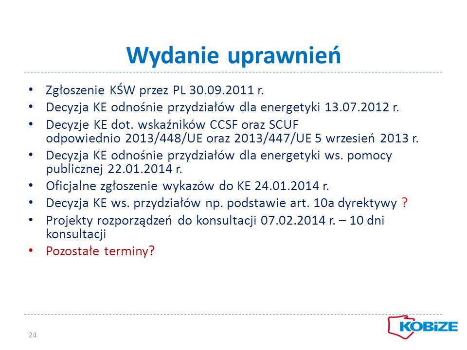 Wydanie uprawnień Zgłoszenie KŚW przez PL 30.09.2011 r. Decyzja KE odnośnie przydziałów dla energetyki 13.07.2012 r. Decyzje KE dot. wskaźników CCSF o