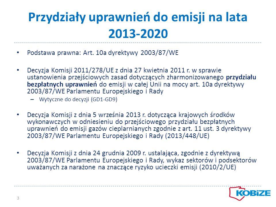 Przydziały uprawnień do emisji na lata 2013-2020 Podstawa prawna: Art. 10a dyrektywy 2003/87/WE Decyzja Komisji 2011/278/UE z dnia 27 kwietnia 2011 r.
