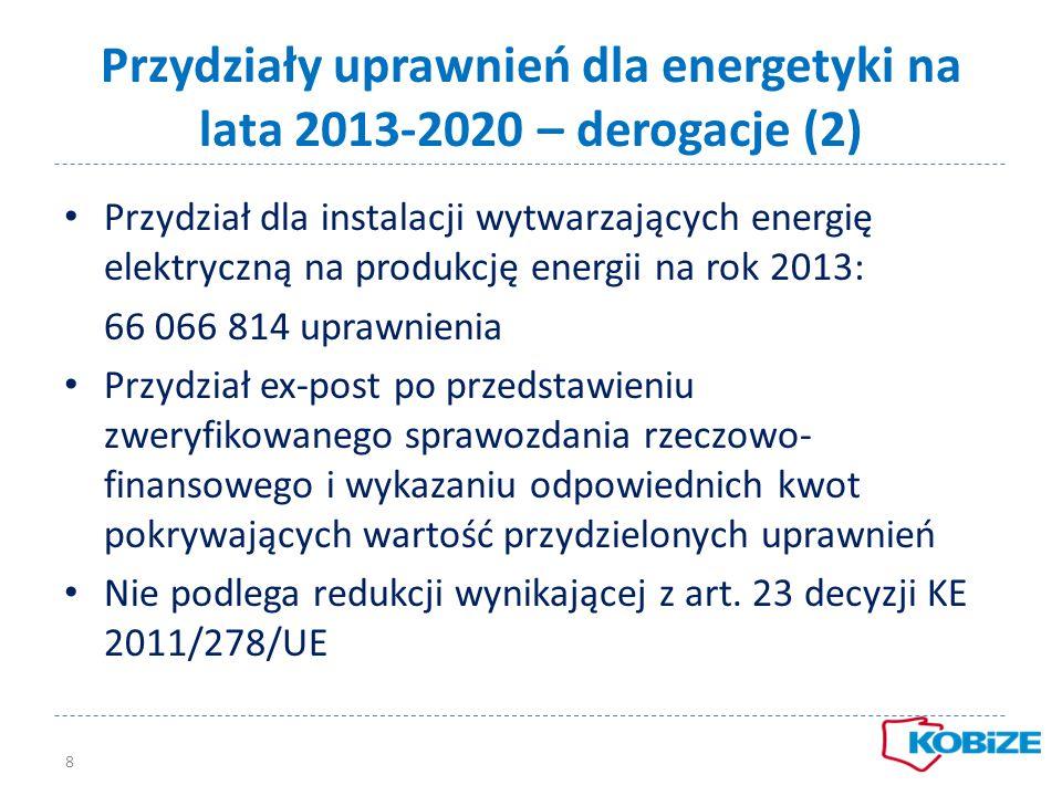 Przydziały uprawnień dla energetyki na lata 2013-2020 – derogacje (2) Przydział dla instalacji wytwarzających energię elektryczną na produkcję energii