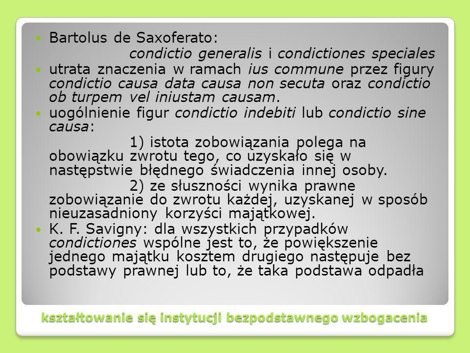 kształtowanie się instytucji bezpodstawnego wzbogacenia Bartolus de Saxoferato: condictio generalis i condictiones speciales utrata znaczenia w ramach
