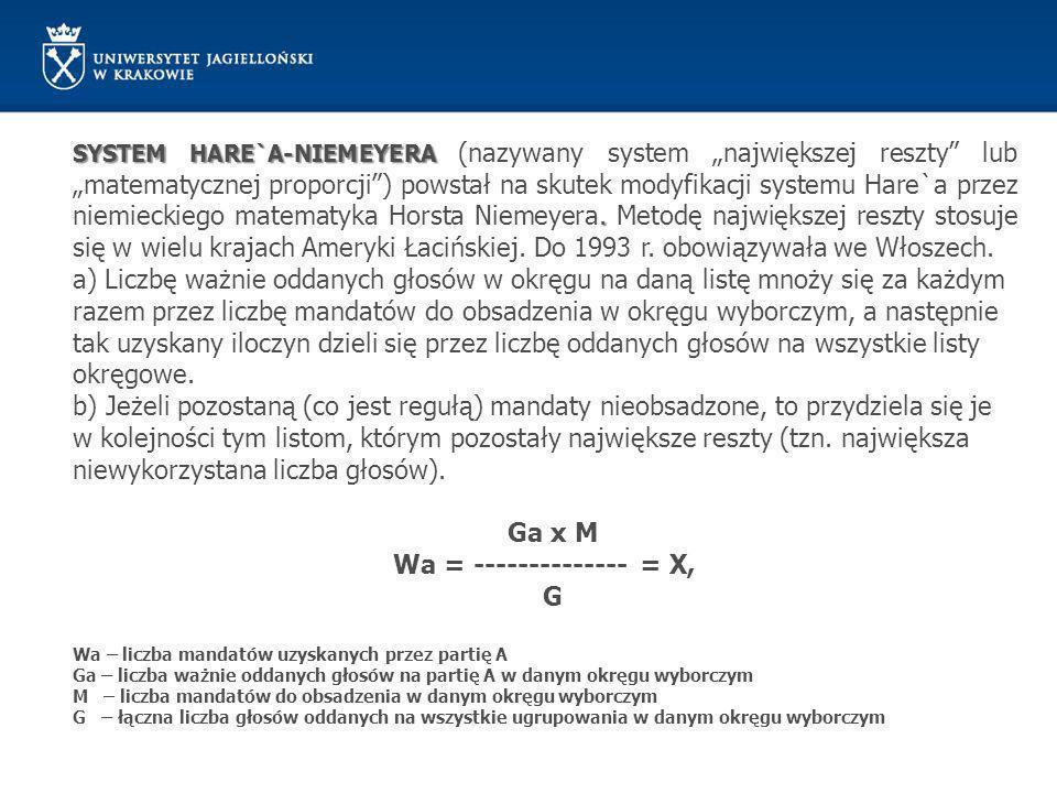 """SYSTEM HARE`A-NIEMEYERA. SYSTEM HARE`A-NIEMEYERA (nazywany system """"największej reszty"""" lub """"matematycznej proporcji"""") powstał na skutek modyfikacji sy"""