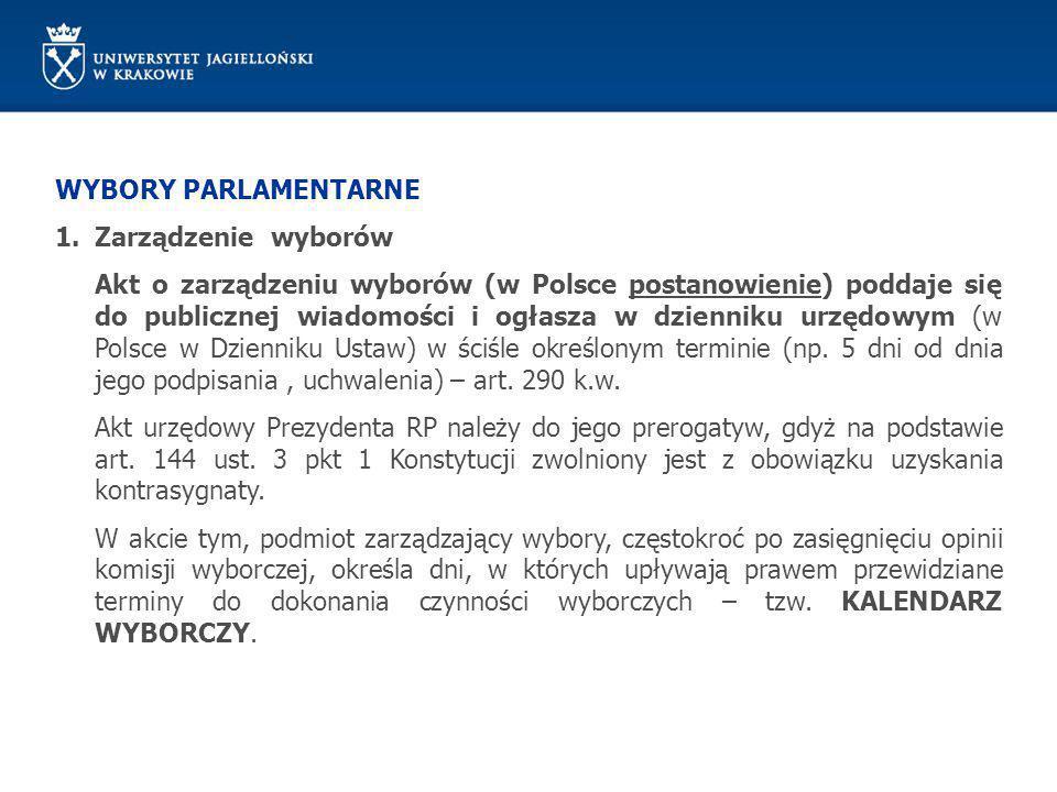WYBORY PARLAMENTARNE 1.Zarządzenie wyborów Akt o zarządzeniu wyborów (w Polsce postanowienie) poddaje się do publicznej wiadomości i ogłasza w dzienni