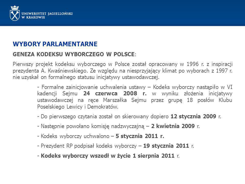 WYBORY PARLAMENTARNE Zasady prawa wyborczego: Rozwój współczesnych państw demokratycznych doprowadził do wykształcenia katalogu zasad prawa wyborczego (określanych mianem przymiotników wyborczych), który obejmuje: Zasadę powszechności Zasadę równości Zasadę bezpośredniości Zasadę ustalenia wyników wyborów Zasadę głosowania tajnego (nie – wyborów tajnych) Zasadę wyborów wolnych Wybory do Sejmu są powszechne, równe, bezpośrednie i proporcjonalne oraz odbywają się w głosowaniu tajnym (art.