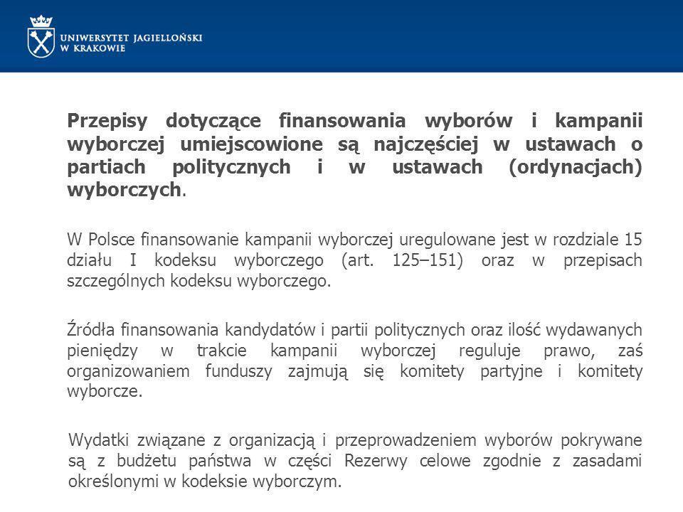 Przepisy dotyczące finansowania wyborów i kampanii wyborczej umiejscowione są najczęściej w ustawach o partiach politycznych i w ustawach (ordynacjach