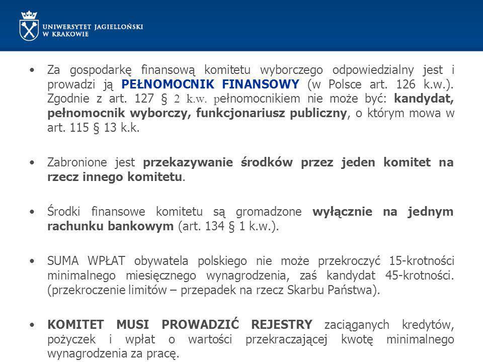 Za gospodarkę finansową komitetu wyborczego odpowiedzialny jest i prowadzi ją PEŁNOMOCNIK FINANSOWY (w Polsce art. 126 k.w.). Zgodnie z art. 127 § 2 k