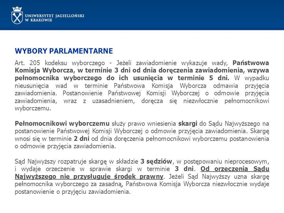 WYBORY PARLAMENTARNE Art. 205 kodeksu wyborczego - Jeżeli zawiadomienie wykazuje wady, Państwowa Komisja Wyborcza, w terminie 3 dni od dnia doręczenia
