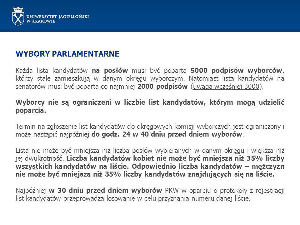 WYBORY PARLAMENTARNE Każda lista kandydatów na posłów musi być poparta 5000 podpisów wyborców, którzy stale zamieszkują w danym okręgu wyborczym. Nato
