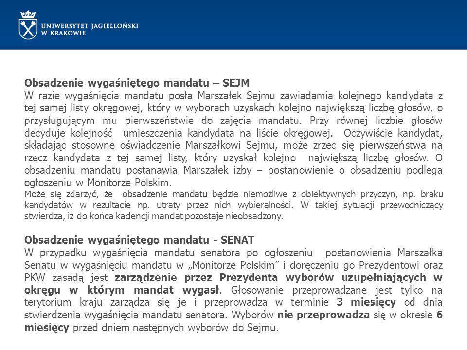 Obsadzenie wygaśniętego mandatu – SEJM W razie wygaśnięcia mandatu posła Marszałek Sejmu zawiadamia kolejnego kandydata z tej samej listy okręgowej, k