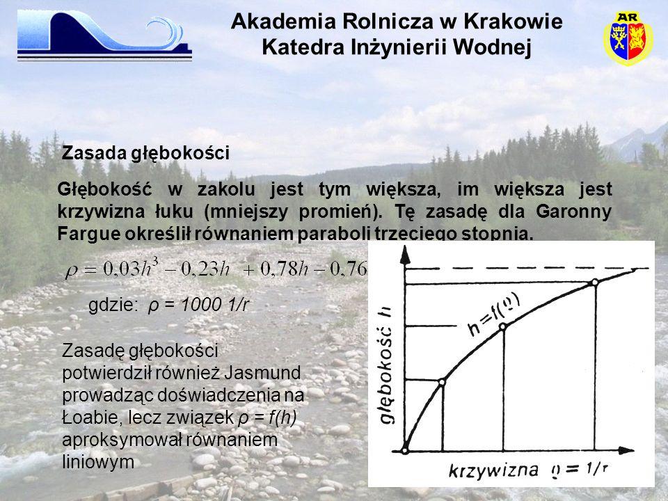 Głębokość w zakolu jest tym większa, im większa jest krzywizna łuku (mniejszy promień). Tę zasadę dla Garonny Fargue określił równaniem paraboli trzec