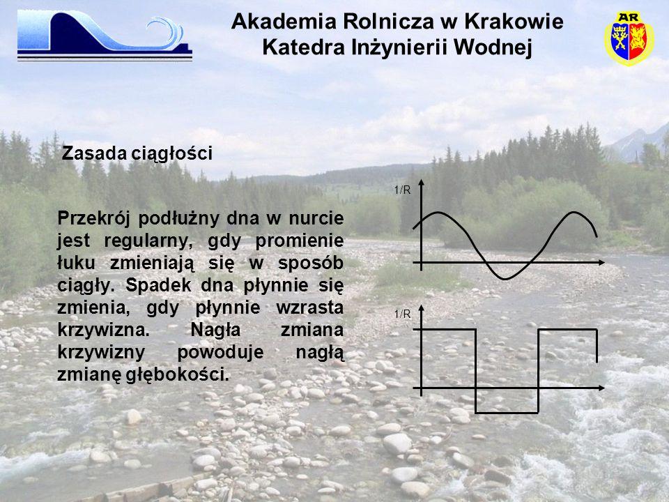 Przekrój podłużny dna w nurcie jest regularny, gdy promienie łuku zmieniają się w sposób ciągły. Spadek dna płynnie się zmienia, gdy płynnie wzrasta k