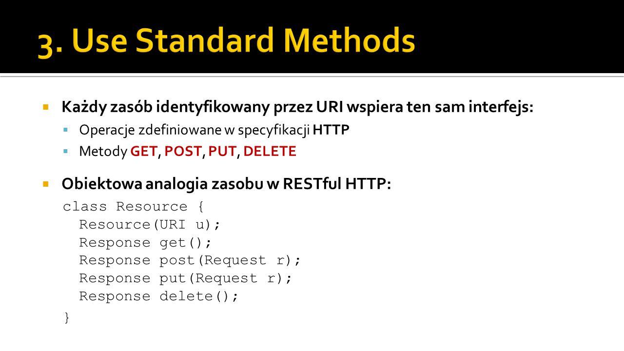  Każdy zasób identyfikowany przez URI wspiera ten sam interfejs:  Operacje zdefiniowane w specyfikacji HTTP  Metody GET, POST, PUT, DELETE  Obiekt