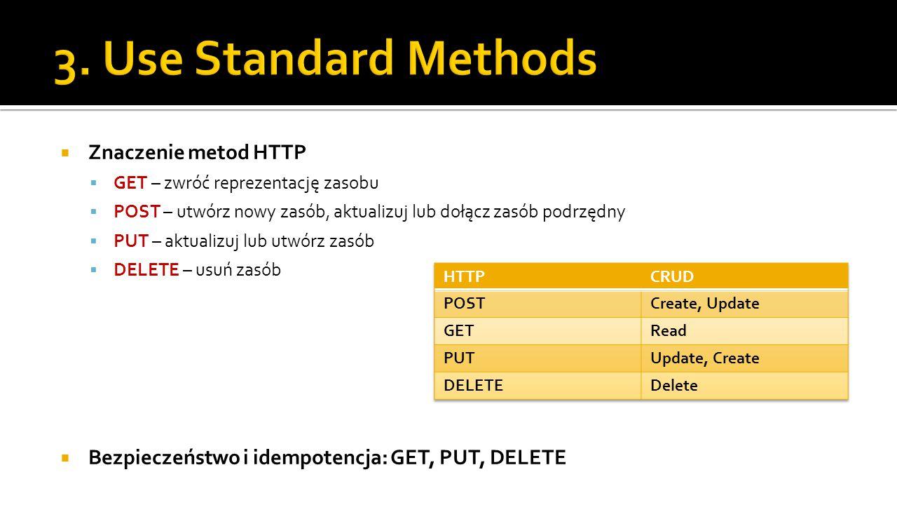  Znaczenie metod HTTP  GET – zwróć reprezentację zasobu  POST – utwórz nowy zasób, aktualizuj lub dołącz zasób podrzędny  PUT – aktualizuj lub utwórz zasób  DELETE – usuń zasób  Bezpieczeństwo i idempotencja: GET, PUT, DELETE