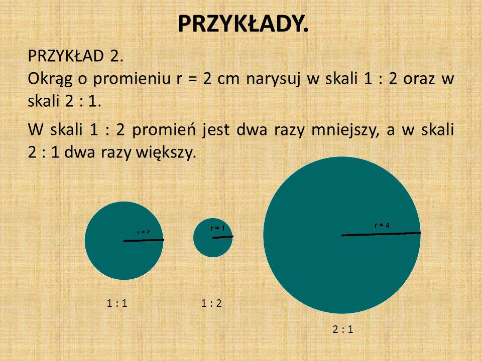PRZYKŁADY.PRZYKŁAD 2. Okrąg o promieniu r = 2 cm narysuj w skali 1 : 2 oraz w skali 2 : 1.