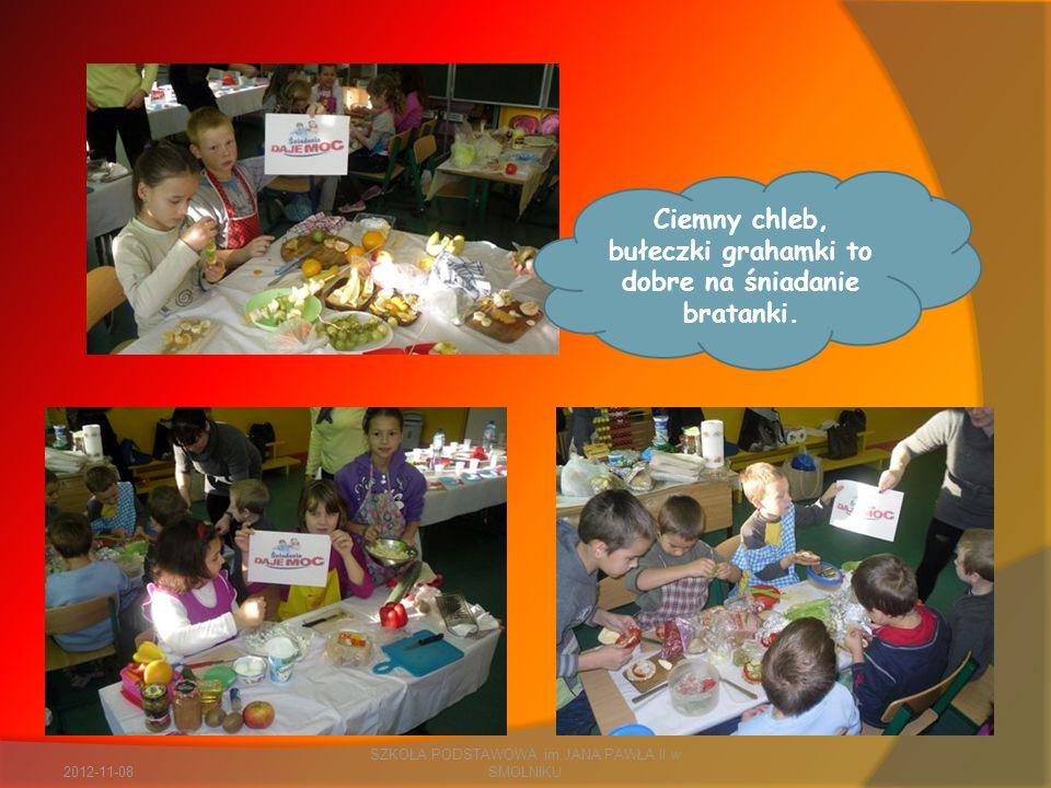 2012-11-08 SZKOŁA PODSTAWOWA im.JANA PAWŁA II w SMOLNIKU Ciemny chleb, bułeczki grahamki to dobre na śniadanie bratanki.