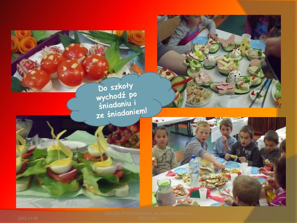 2012-11-08 SZKOŁA PODSTAWOWA im.JANA PAWŁA II w SMOLNIKU Do szkoły wychodź po śniadaniu i ze śniadaniem!