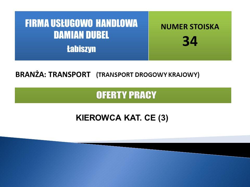 NUMER STOISKA 34 BRANŻA: TRANSPORT (TRANSPORT DROGOWY KRAJOWY) KIEROWCA KAT.
