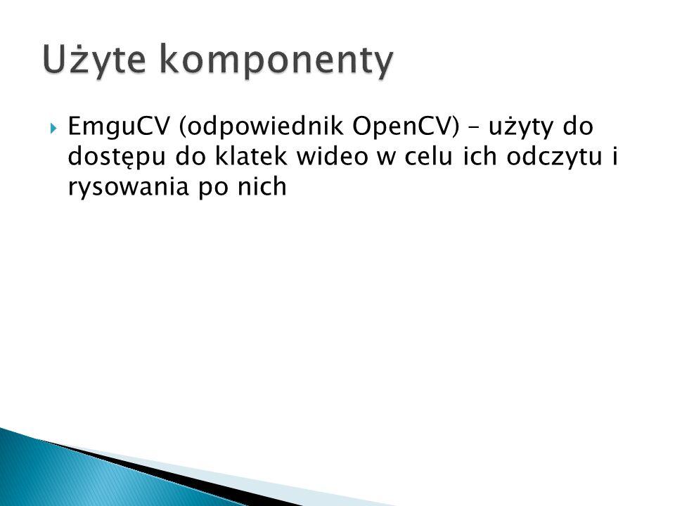  EmguCV (odpowiednik OpenCV) – użyty do dostępu do klatek wideo w celu ich odczytu i rysowania po nich