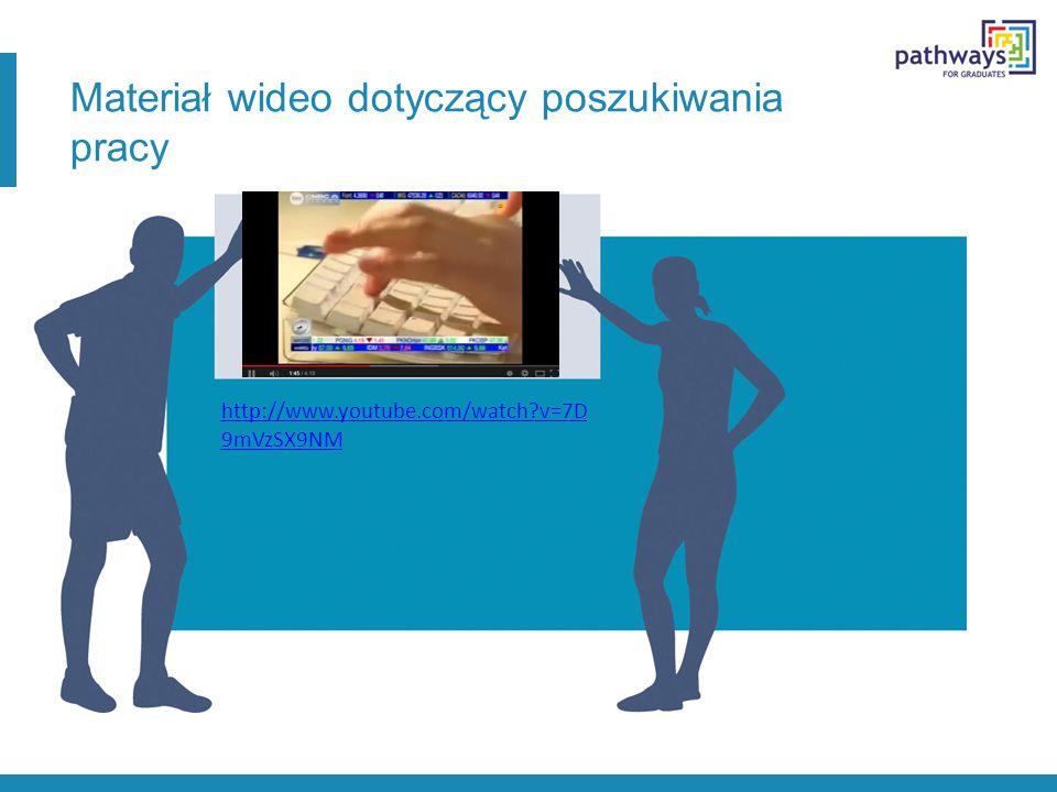 Materiał wideo dotyczący poszukiwania pracy http://www.youtube.com/watch?v=7D 9mVzSX9NM