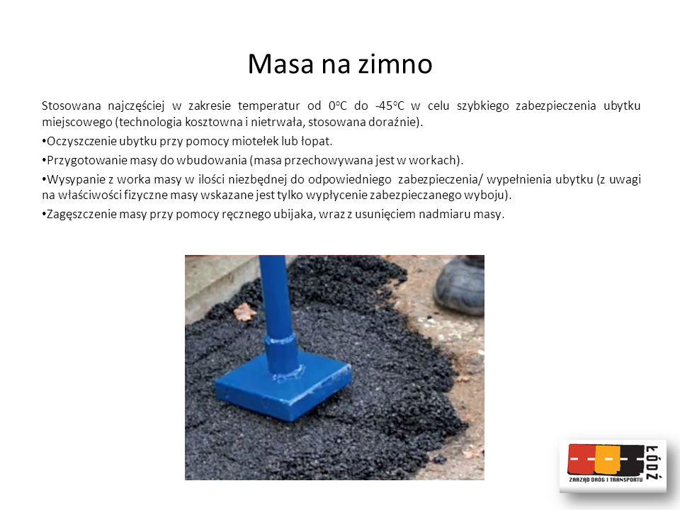 Asfalt lany (AL) Stosowany w zakresie temperatur od -5 o C do +30 o C w celu szybkiego zabezpieczenia ubytku miejscowego (tania i trwała metoda) po wcześniejszym oczyszczeniu.