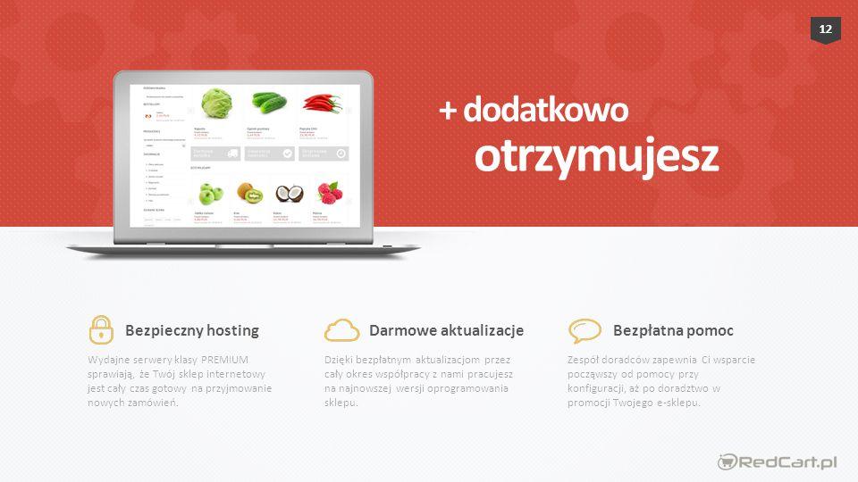 Wydajne serwery klasy PREMIUM sprawiają, że Twój sklep internetowy jest cały czas gotowy na przyjmowanie nowych zamówień.