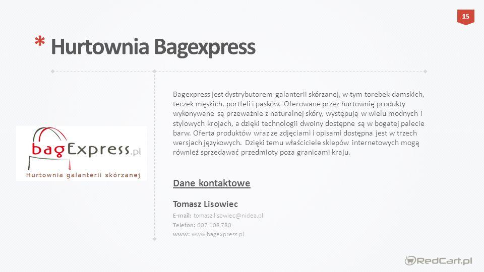 Bagexpress jest dystrybutorem galanterii skórzanej, w tym torebek damskich, teczek męskich, portfeli i pasków.