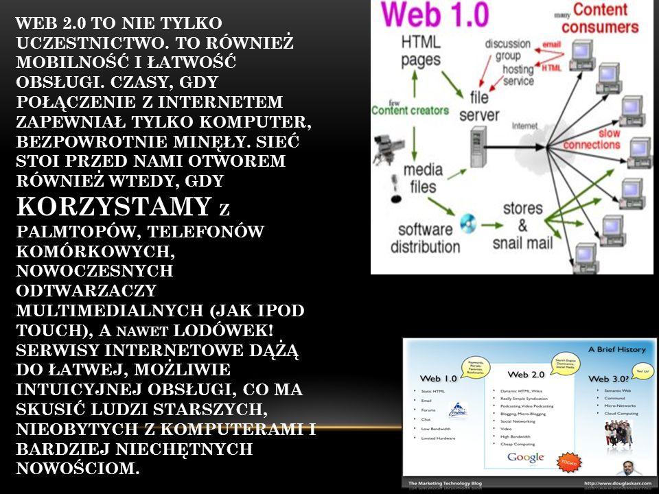 WEB 2.0 TO NIE TYLKO UCZESTNICTWO. TO RÓWNIEŻ MOBILNOŚĆ I ŁATWOŚĆ OBSŁUGI. CZASY, GDY POŁĄCZENIE Z INTERNETEM ZAPEWNIAŁ TYLKO KOMPUTER, BEZPOWROTNIE M