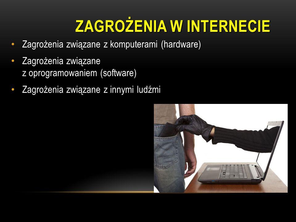 Zagrożenia związane z komputerami (hardware) Zagrożenia związane z oprogramowaniem (software) Zagrożenia związane z innymi ludźmi