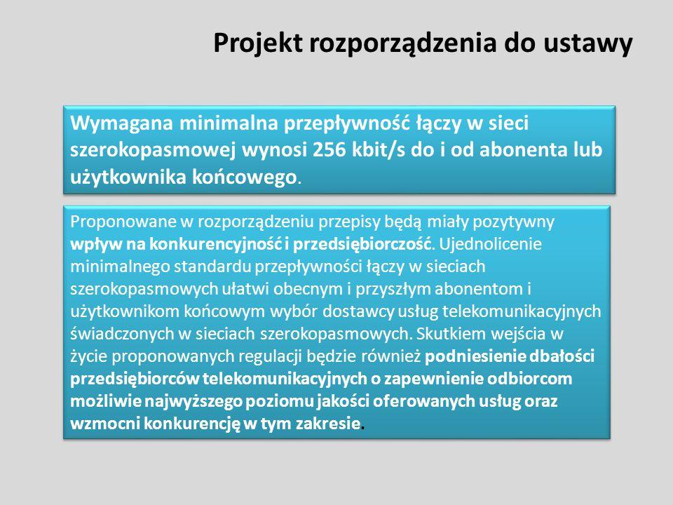 Projekt rozporządzenia do ustawy Wymagana minimalna przepływność łączy w sieci szerokopasmowej wynosi 256 kbit/s do i od abonenta lub użytkownika końc