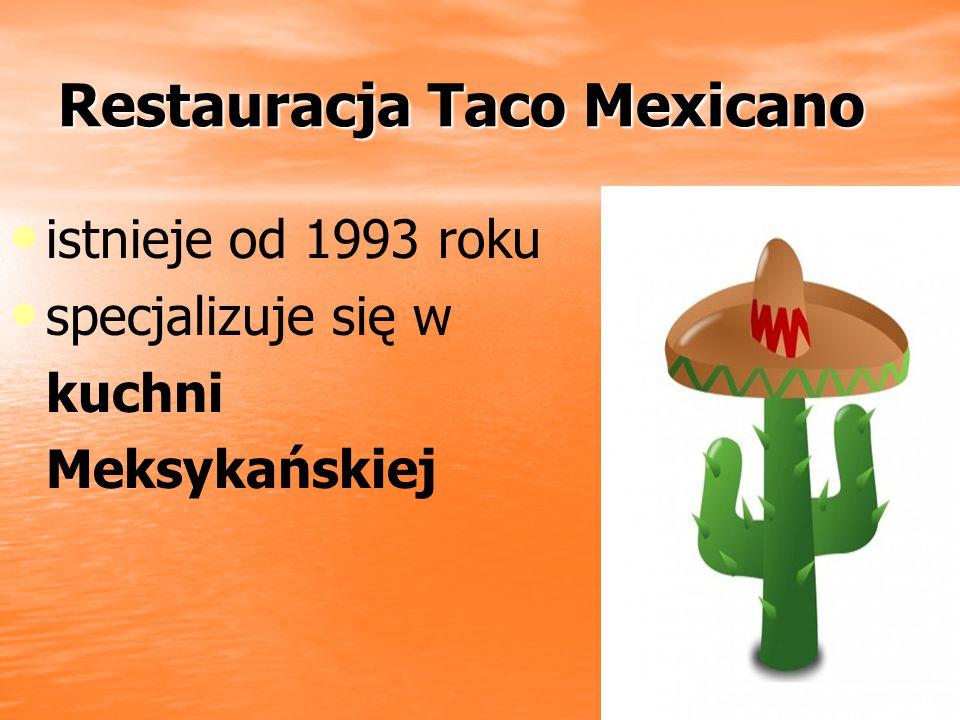 Restauracja Taco Mexicano Restauracja Taco Mexicano istnieje od 1993 roku specjalizuje się w kuchni Meksykańskiej