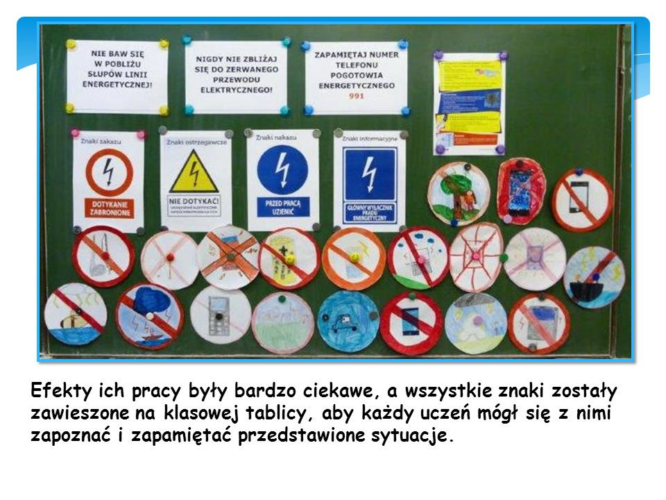 Efekty ich pracy były bardzo ciekawe, a wszystkie znaki zostały zawieszone na klasowej tablicy, aby każdy uczeń mógł się z nimi zapoznać i zapamiętać