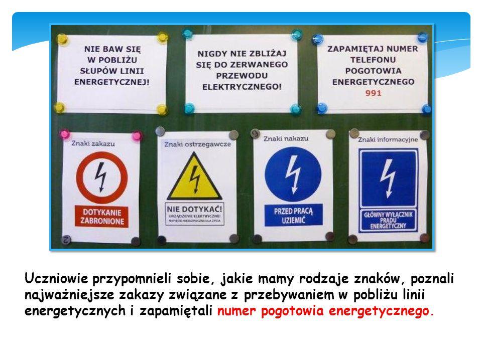 Uczniowie przypomnieli sobie, jakie mamy rodzaje znaków, poznali najważniejsze zakazy związane z przebywaniem w pobliżu linii energetycznych i zapamię