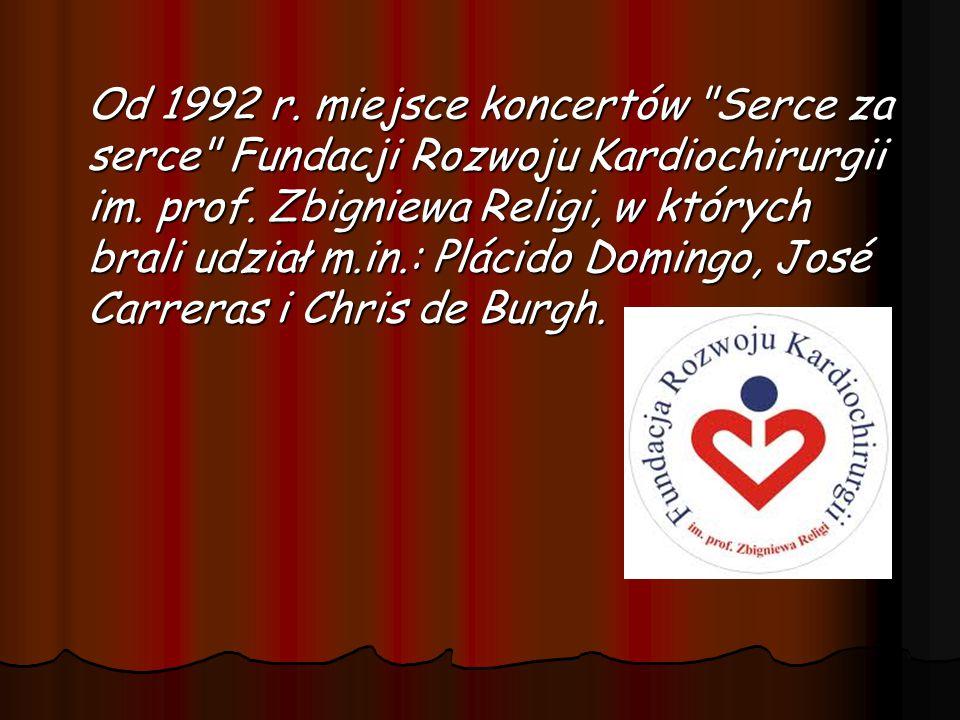 Od 1992 r.miejsce koncertów Serce za serce Fundacji Rozwoju Kardiochirurgii im.