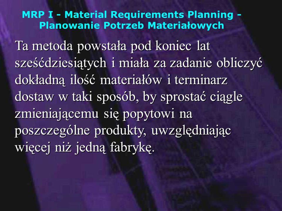 Główne cele MRP I to: Redukcja zapasów - chodzi tu o zapasy materiałowe i operacyjne, dzięki czemu zwiększa się płynność finansowa przedsiębiorstwa oraz czas rotacji kapitałuRedukcja zapasów - chodzi tu o zapasy materiałowe i operacyjne, dzięki czemu zwiększa się płynność finansowa przedsiębiorstwa oraz czas rotacji kapitału Dokładne określenie czasów dostaw surowców i półproduktówDokładne określenie czasów dostaw surowców i półproduktów Dokładne wyznaczenie kosztów produkcjiDokładne wyznaczenie kosztów produkcji Lepsze wykorzystanie posiadanej infrastruktury (magazyny, możliwości wytwórcze)Lepsze wykorzystanie posiadanej infrastruktury (magazyny, możliwości wytwórcze) Szybsze reagowanie na zmiany zachodzące w otoczeniuSzybsze reagowanie na zmiany zachodzące w otoczeniu Kontrola poszczególnych etapów produkcjiKontrola poszczególnych etapów produkcji
