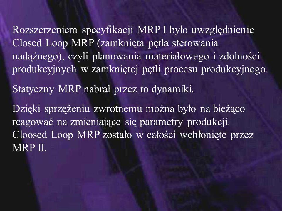 MRP II- Material Resource Planning - Planowanie Zasobów Produkcyjnych Zdefiniowany i opublikowany przez Amerykańskie Stowarzyszenie Sterowania Produkcją i Zapasami - APICS (American Production and Inventory Control Society) w 1988 roku, który dzisiaj jest stosowany we wszystkich większych zintegrowanych systemach wspomagających zarządzanie.