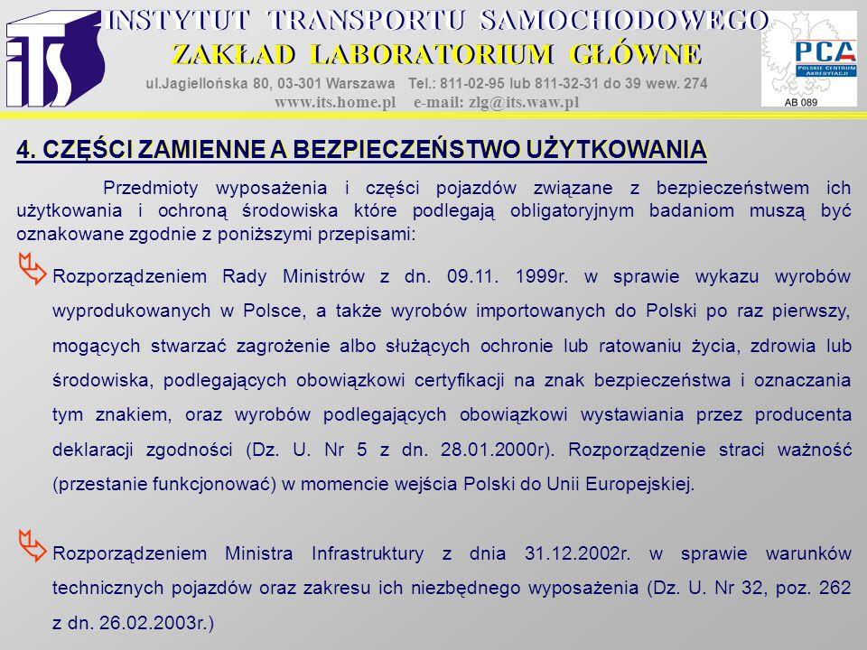 4. CZĘŚCI ZAMIENNE A BEZPIECZEŃSTWO UŻYTKOWANIA  Rozporządzeniem Rady Ministrów z dn. 09.11. 1999r. w sprawie wykazu wyrobów wyprodukowanych w Polsce