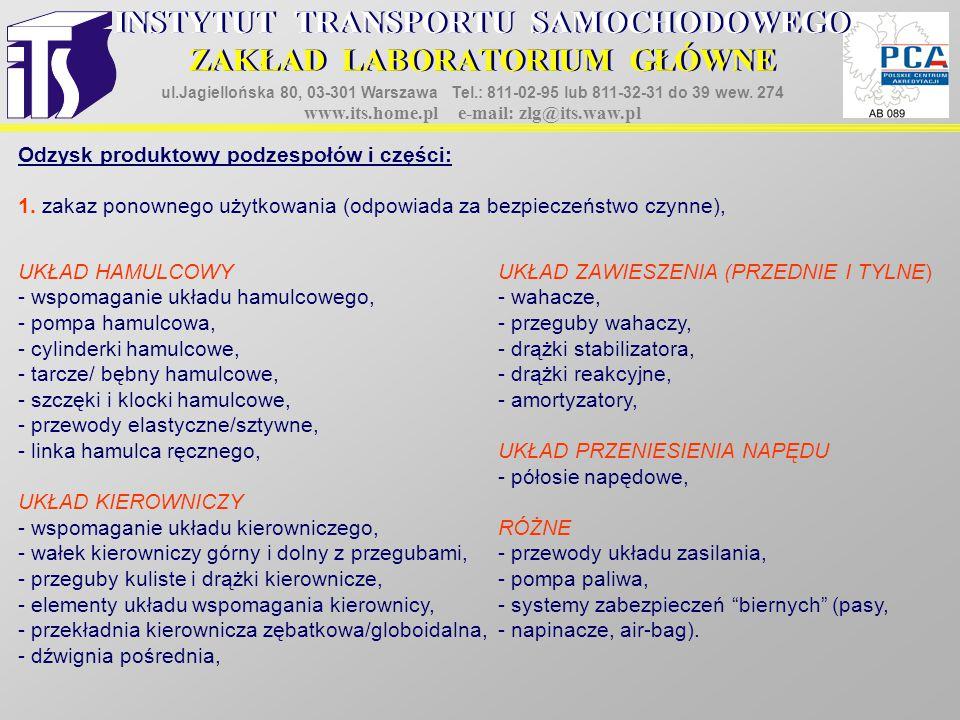 Odzysk produktowy podzespołów i części: 1. zakaz ponownego użytkowania (odpowiada za bezpieczeństwo czynne), UKŁAD HAMULCOWYUKŁAD ZAWIESZENIA (PRZEDNI