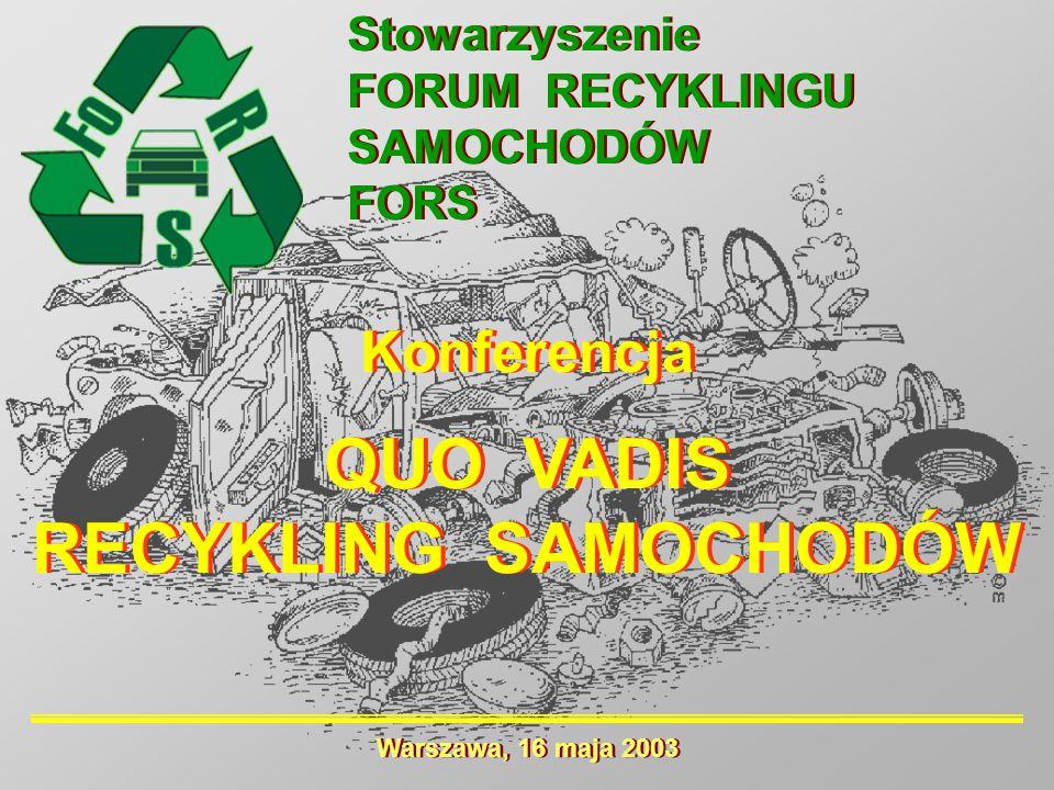 Konferencja QUO VADIS RECYKLING SAMOCHODÓW Konferencja QUO VADIS RECYKLING SAMOCHODÓW Stowarzyszenie FORUM RECYKLINGU SAMOCHODÓW FORS Stowarzyszenie F