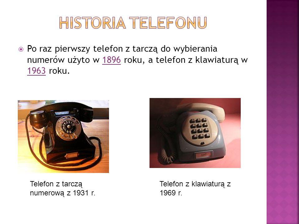  Po raz pierwszy telefon z tarczą do wybierania numerów użyto w 1896 roku, a telefon z klawiaturą w 1963 roku. Telefon z tarczą numerową z 1931 r. Te