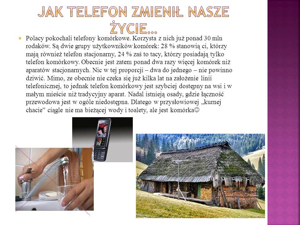  Polacy pokochali telefony komórkowe. Korzysta z nich już ponad 30 mln rodaków. Są dwie grupy użytkowników komórek: 28 % stanowią ci, którzy mają rów