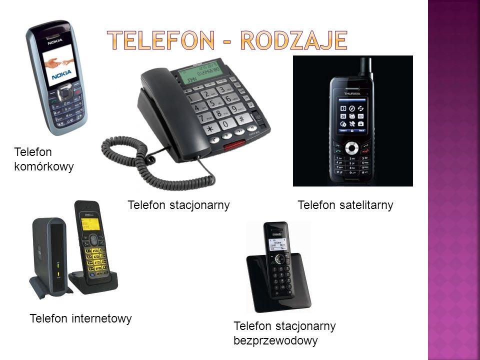 Telefon internetowy Telefon stacjonarny bezprzewodowy Telefon satelitarny Telefon komórkowy Telefon stacjonarny