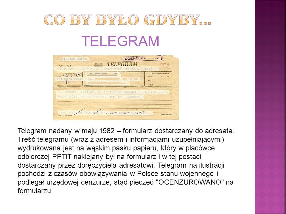 Telegram nadany w maju 1982 – formularz dostarczany do adresata. Treść telegramu (wraz z adresem i informacjami uzupełniającymi) wydrukowana jest na w