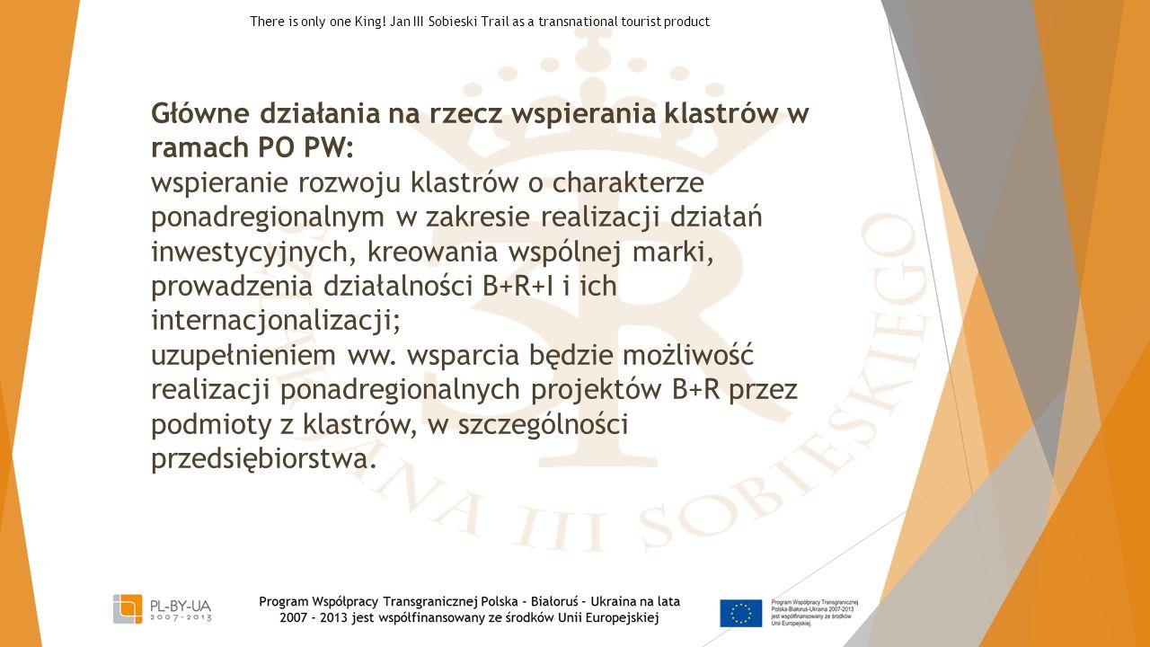 Główne działania na rzecz wspierania klastrów w ramach PO PW: wspieranie rozwoju klastrów o charakterze ponadregionalnym w zakresie realizacji działań