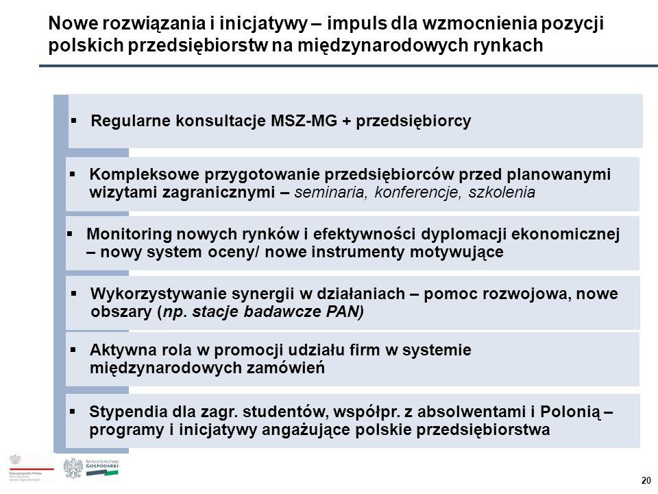 Nowe rozwiązania i inicjatywy – impuls dla wzmocnienia pozycji polskich przedsiębiorstw na międzynarodowych rynkach  Regularne konsultacje MSZ-MG + p