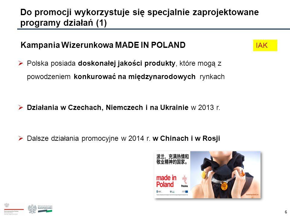 6 Do promocji wykorzystuje się specjalnie zaprojektowane programy działań (1) Kampania Wizerunkowa MADE IN POLAND  Polska posiada doskonałej jakości